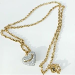JUICY COUTURE Long Rhinestone Pave Heart Necklace